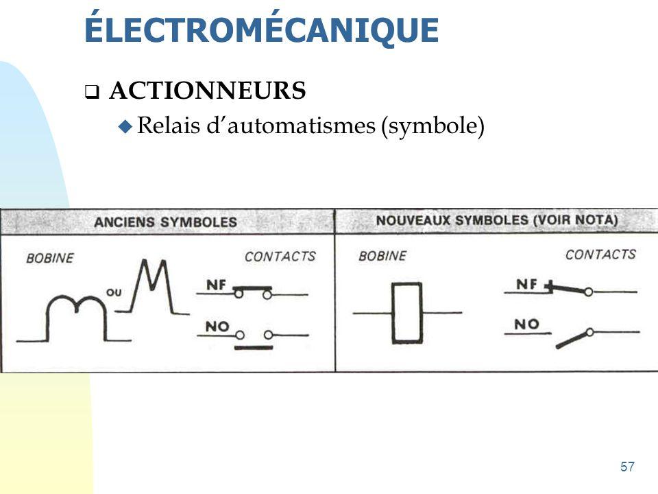 57  ACTIONNEURS u Relais d'automatismes (symbole) ÉLECTROMÉCANIQUE