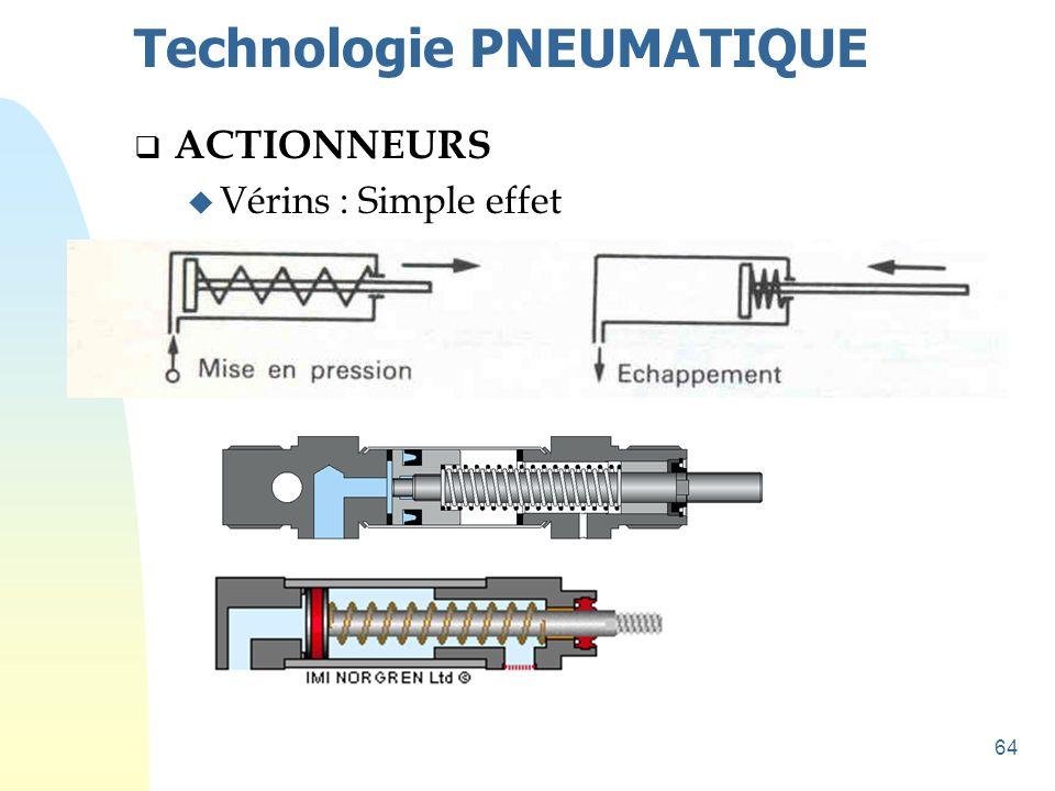 64 Technologie PNEUMATIQUE  ACTIONNEURS u Vérins : Simple effet