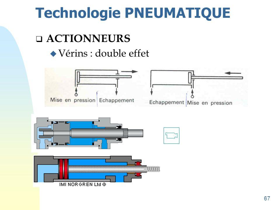 67 Technologie PNEUMATIQUE  ACTIONNEURS u Vérins : double effet