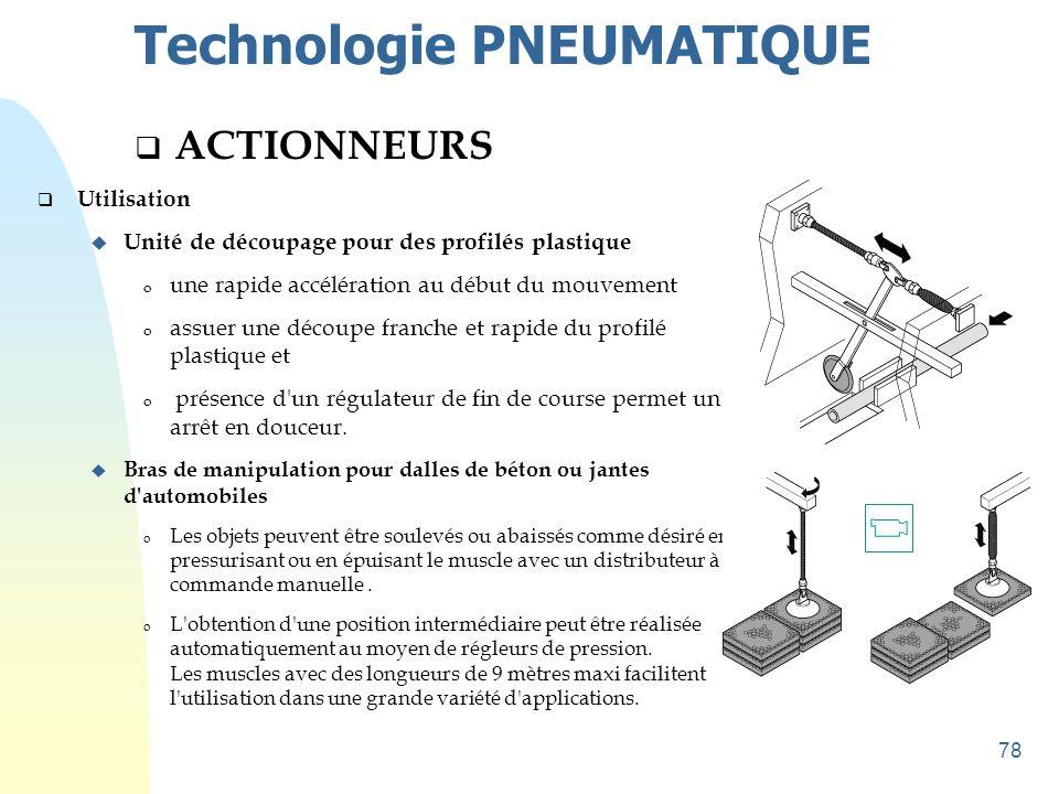 78 Technologie PNEUMATIQUE  ACTIONNEURS  Utilisation u Unité de découpage pour des profilés plastique o une rapide accélération au début du mouvemen
