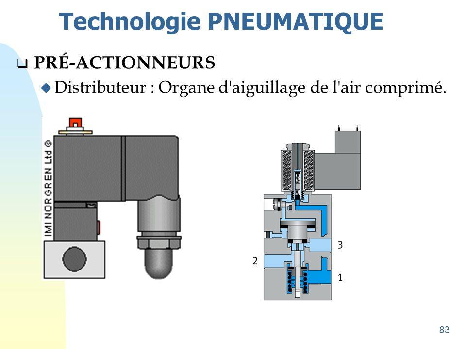 83 Technologie PNEUMATIQUE  PRÉ-ACTIONNEURS u Distributeur : Organe d'aiguillage de l'air comprimé.