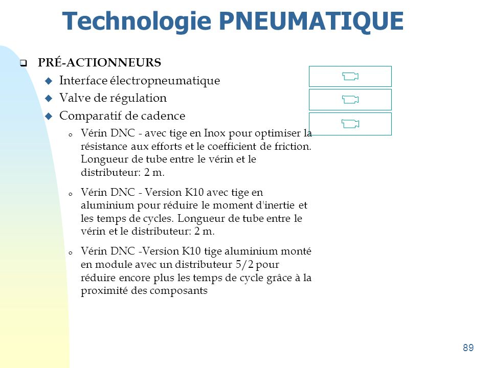 89 Technologie PNEUMATIQUE  PRÉ-ACTIONNEURS u Interface électropneumatique u Valve de régulation u Comparatif de cadence o Vérin DNC - avec tige en I