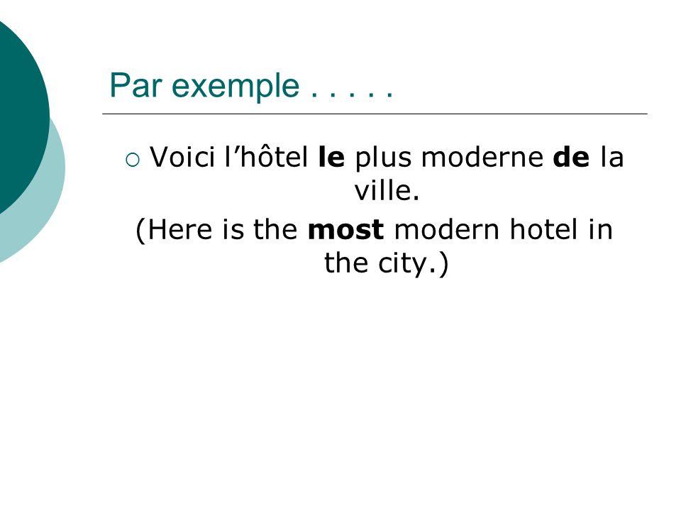 Par exemple.....  Voici l'hôtel le plus moderne de la ville. (Here is the most modern hotel in the city.)