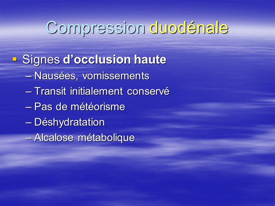 Compression duodénale  Signes d'occlusion haute –Nausées, vomissements –Transit initialement conservé –Pas de météorisme –Déshydratation –Alcalose mé
