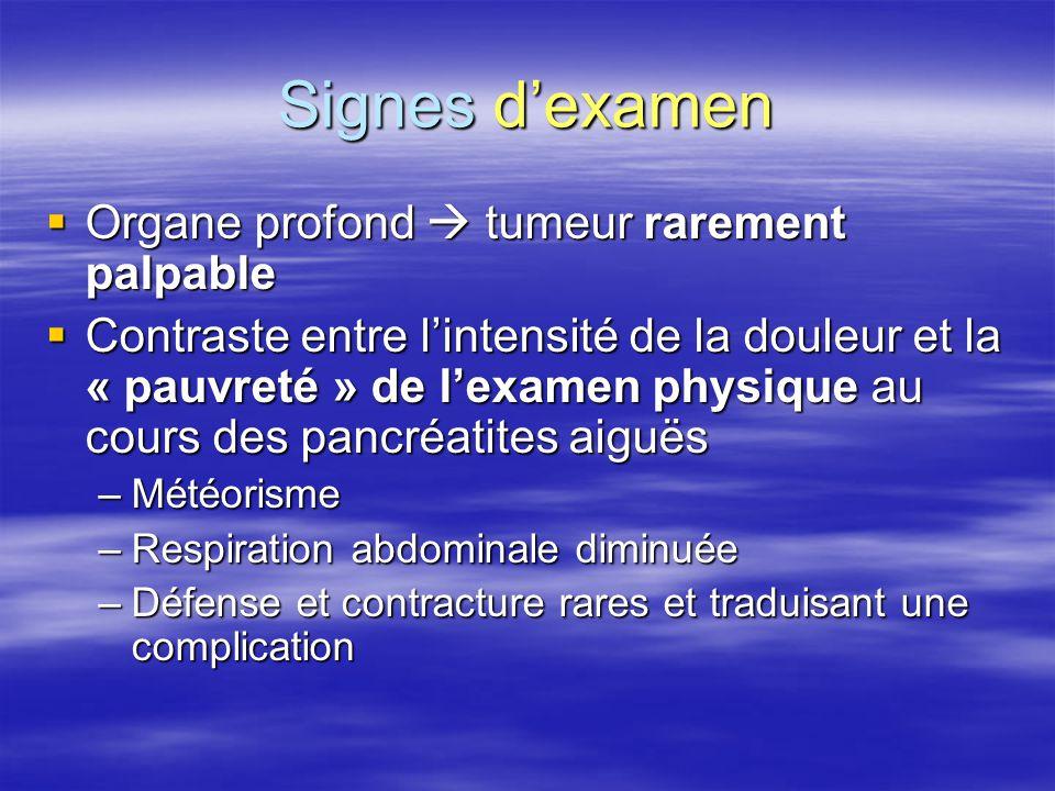 Signes d'examen  Organe profond  tumeur rarement palpable  Contraste entre l'intensité de la douleur et la « pauvreté » de l'examen physique au cou