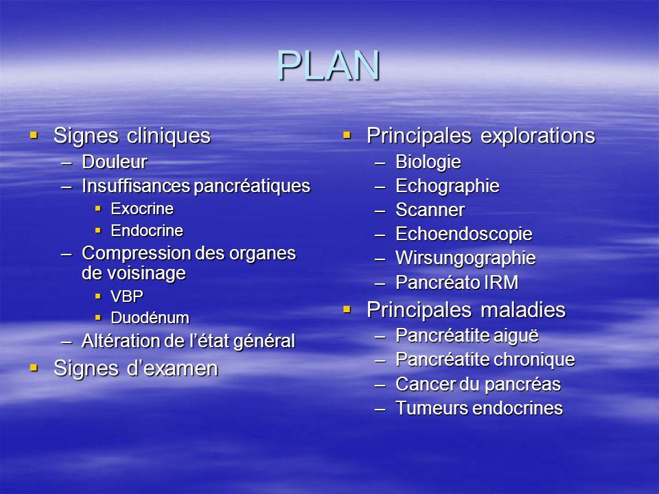 PLAN  Signes cliniques –Douleur –Insuffisances pancréatiques  Exocrine  Endocrine –Compression des organes de voisinage  VBP  Duodénum –Altératio