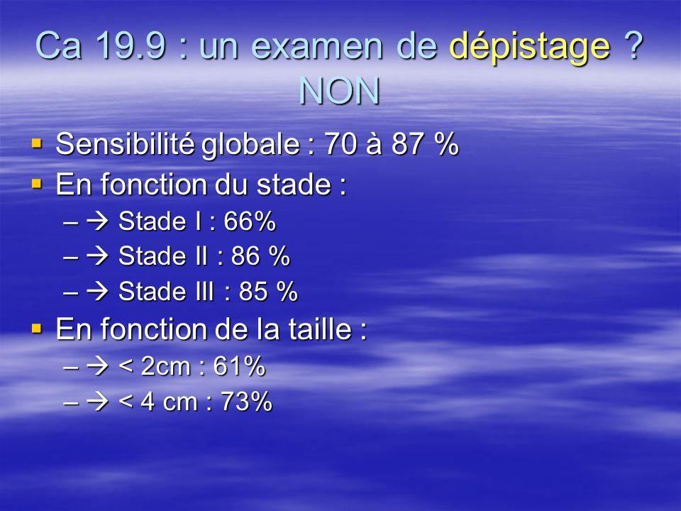Ca 19.9 : un examen de dépistage ? NON  Sensibilité globale : 70 à 87 %  En fonction du stade : –  Stade I : 66% –  Stade II : 86 % –  Stade III