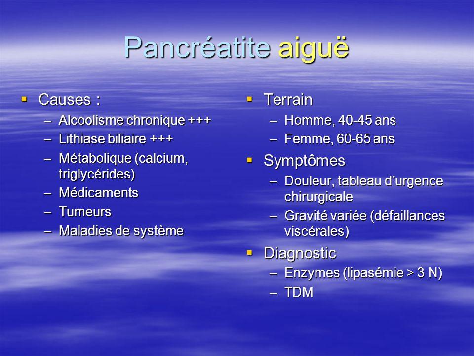 Pancréatite aiguë  Causes : –Alcoolisme chronique +++ –Lithiase biliaire +++ –Métabolique (calcium, triglycérides) –Médicaments –Tumeurs –Maladies de