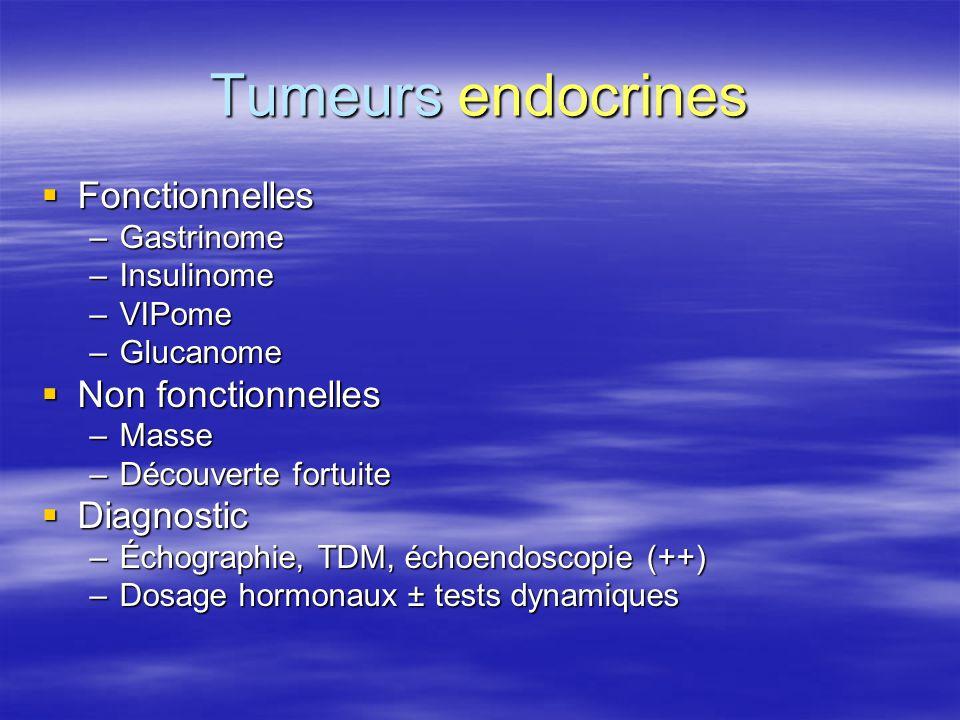 Tumeurs endocrines  Fonctionnelles –Gastrinome –Insulinome –VIPome –Glucanome  Non fonctionnelles –Masse –Découverte fortuite  Diagnostic –Échograp