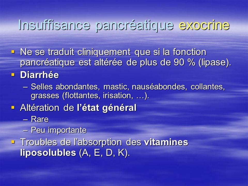 Insuffisance pancréatique exocrine  Ne se traduit cliniquement que si la fonction pancréatique est altérée de plus de 90 % (lipase).  Diarrhée –Sell