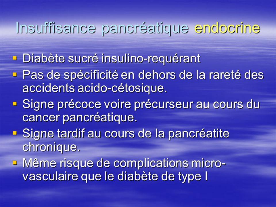 Insuffisance pancréatique endocrine  Diabète sucré insulino-requérant  Pas de spécificité en dehors de la rareté des accidents acido-cétosique.  Si