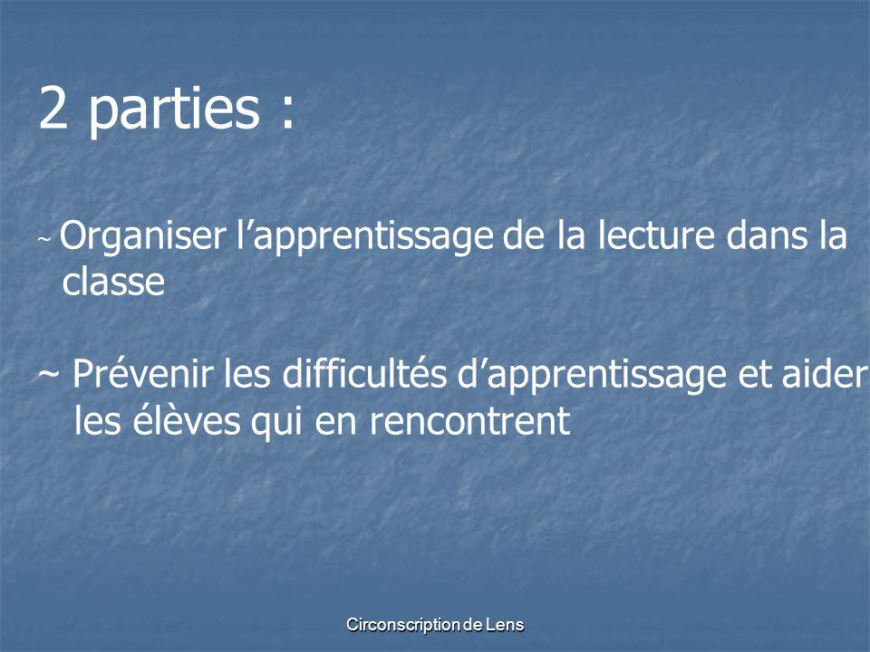 Circonscription de Lens 2 parties : ~ Organiser l'apprentissage de la lecture dans la classe ~ Prévenir les difficultés d'apprentissage et aider les é