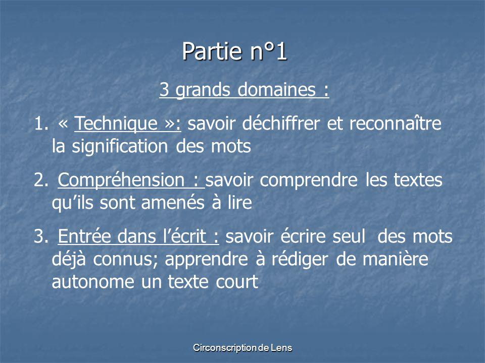 Circonscription de Lens Partie n°1 3 grands domaines : 1. « Technique »: savoir déchiffrer et reconnaître la signification des mots 2. Compréhension :