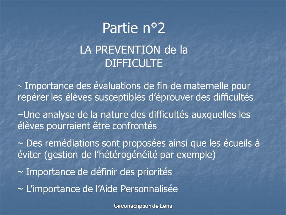 Circonscription de Lens Partie n°2 LA PREVENTION de la DIFFICULTE ~ Importance des évaluations de fin de maternelle pour repérer les élèves susceptibl