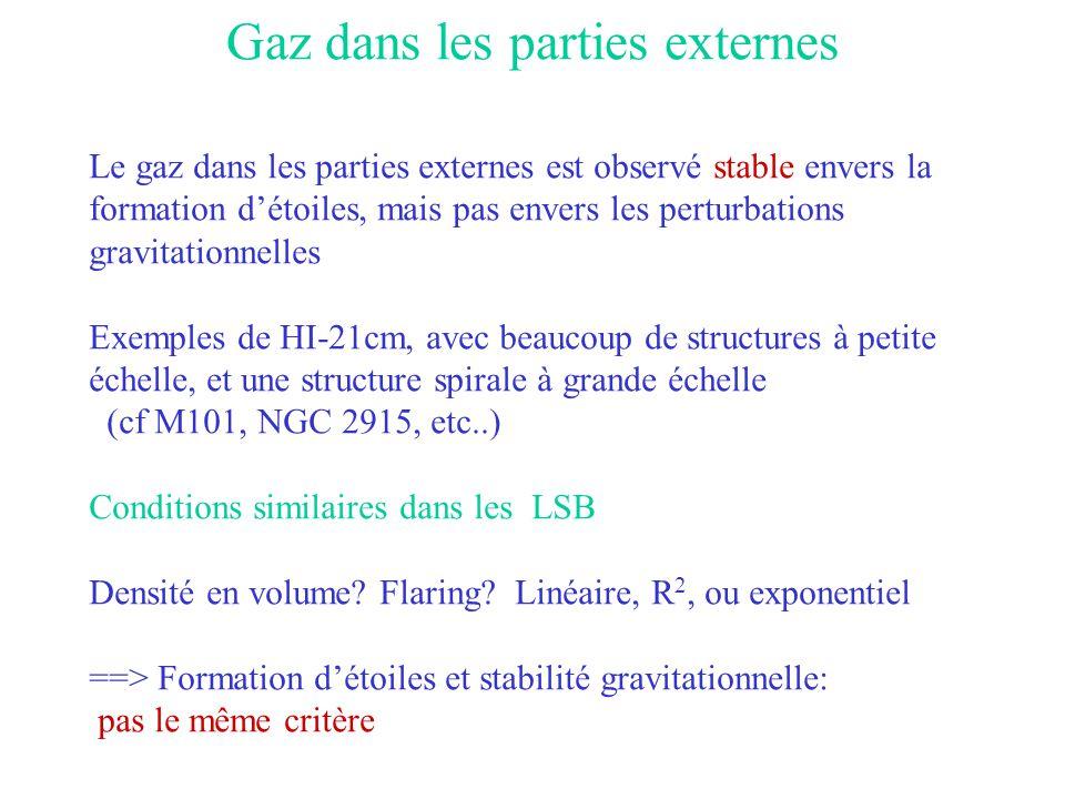 Gaz dans les parties externes Le gaz dans les parties externes est observé stable envers la formation d'étoiles, mais pas envers les perturbations gra