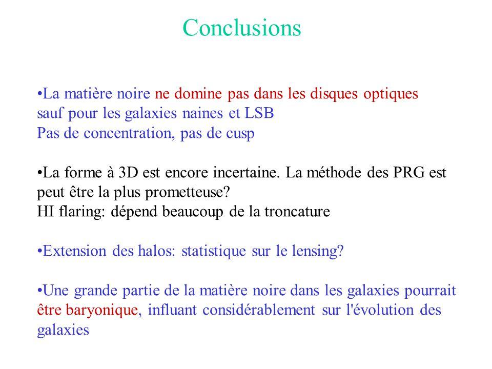 Conclusions •La matière noire ne domine pas dans les disques optiques sauf pour les galaxies naines et LSB Pas de concentration, pas de cusp •La forme