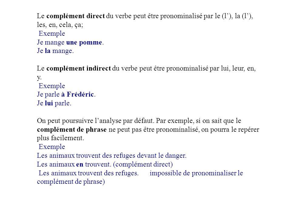 Le complément direct du verbe peut être pronominalisé par le (l'), la (l'), les, en, cela, ça; Exemple Je mange une pomme.