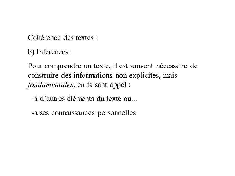 Cohérence des textes : b) Inférences : Pour comprendre un texte, il est souvent nécessaire de construire des informations non explicites, mais fondamentales, en faisant appel : -à d'autres éléments du texte ou...