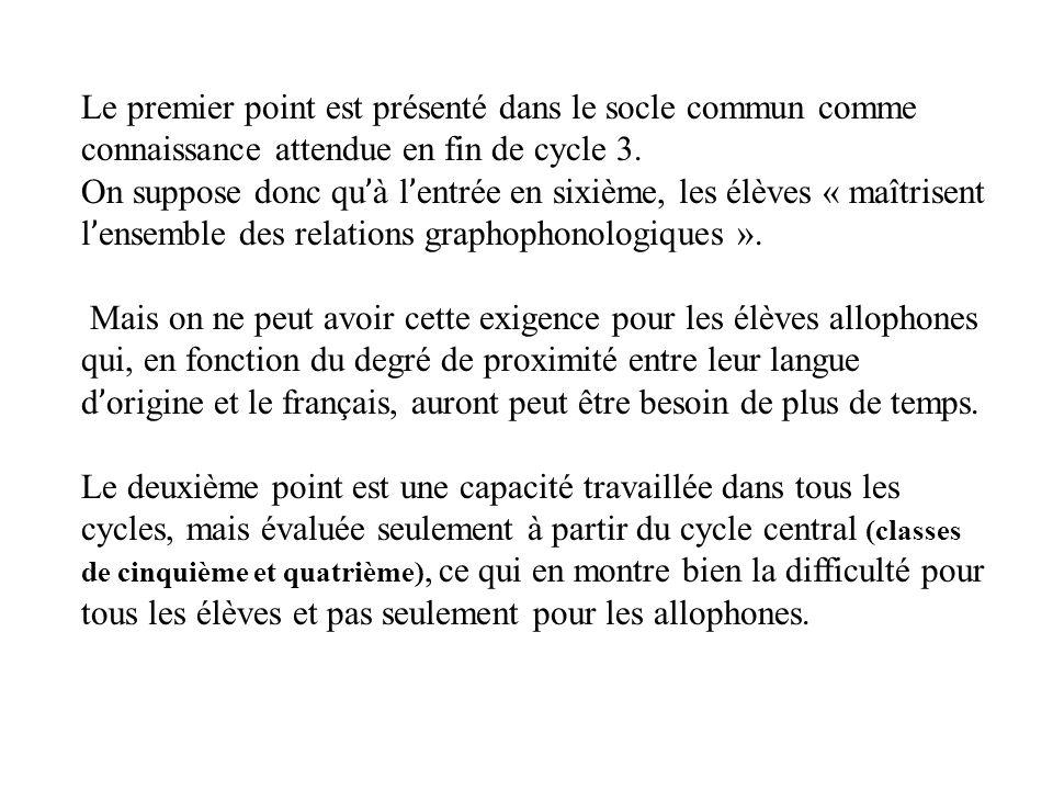 Le premier point est présenté dans le socle commun comme connaissance attendue en fin de cycle 3.