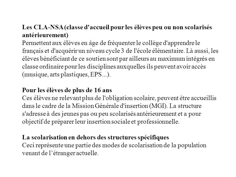 Les CLA-NSA (classe d accueil pour les élèves peu ou non scolarisés antérieurement) Permettent aux élèves en âge de fréquenter le collège d apprendre le français et d acquérir un niveau cycle 3 de l école élémentaire.
