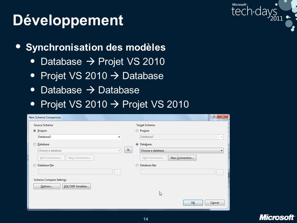 14 Développement • Synchronisation des modèles • Database  Projet VS 2010 • Projet VS 2010  Database • Database  Database • Projet VS 2010  Projet