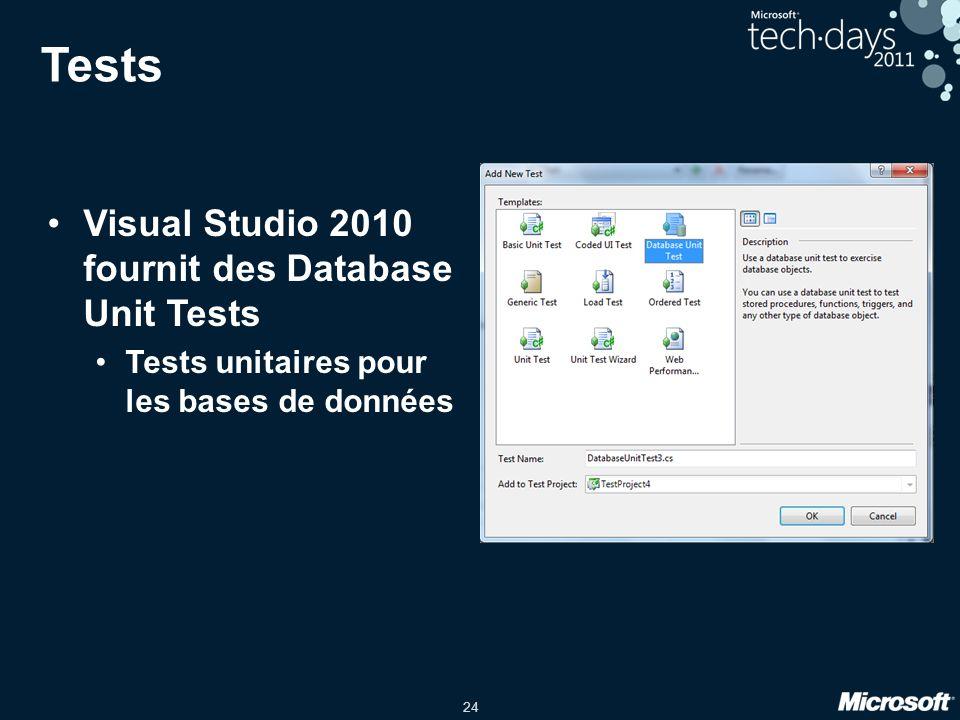 24 Tests •Visual Studio 2010 fournit des Database Unit Tests •Tests unitaires pour les bases de données