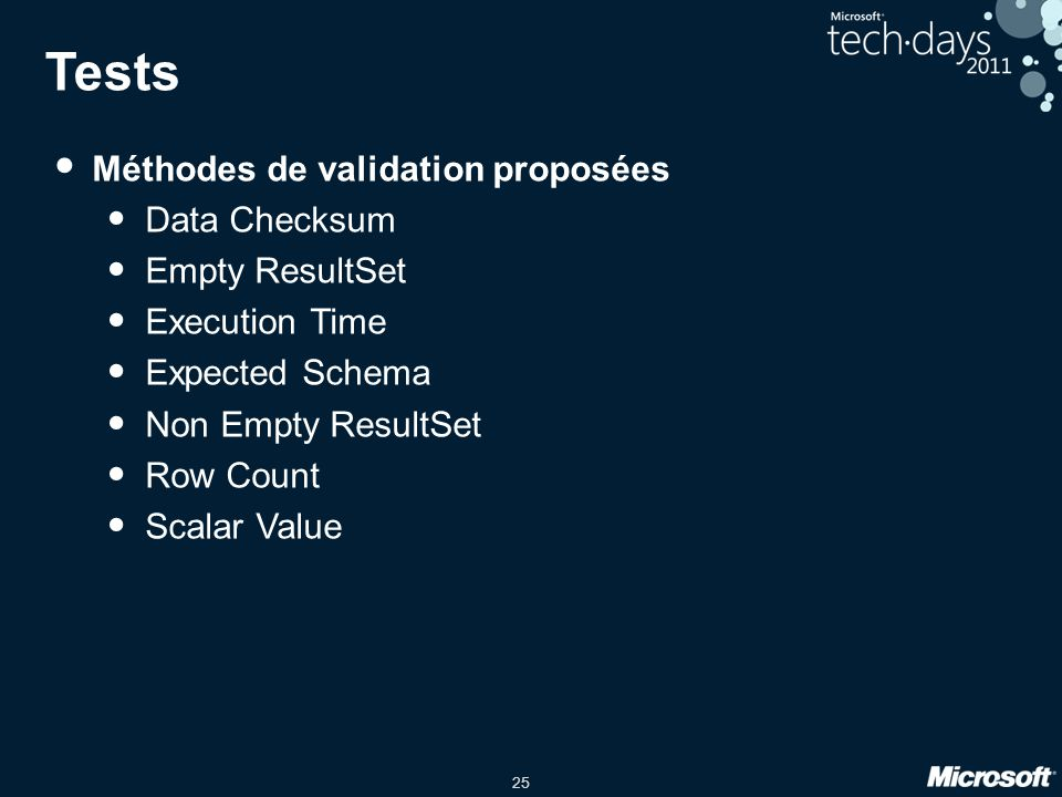25 Tests • Méthodes de validation proposées • Data Checksum • Empty ResultSet • Execution Time • Expected Schema • Non Empty ResultSet • Row Count • S