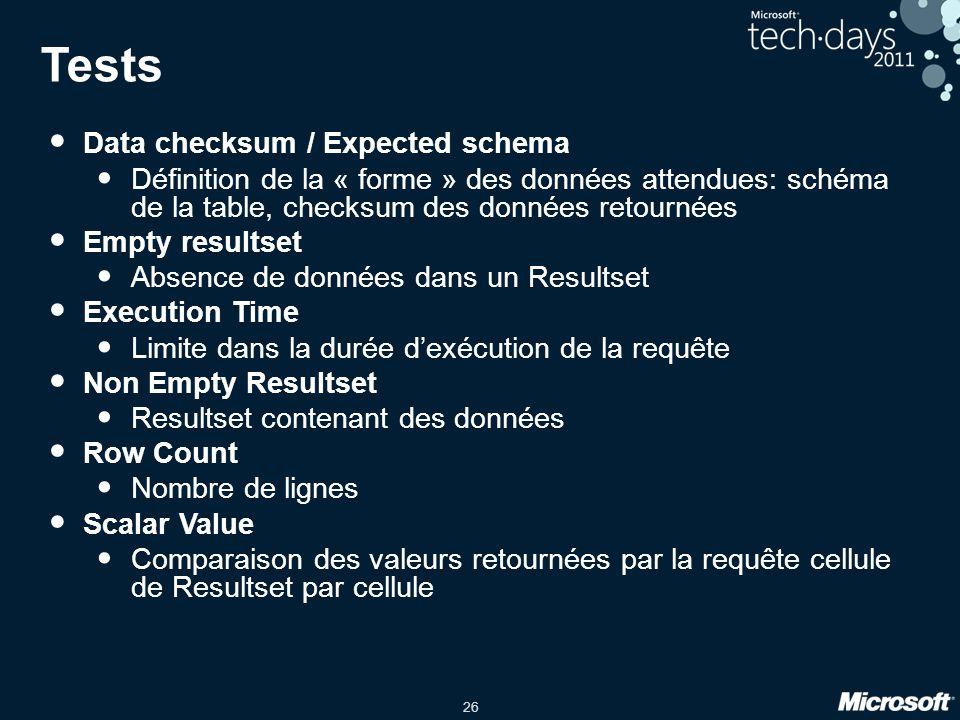 26 Tests • Data checksum / Expected schema • Définition de la « forme » des données attendues: schéma de la table, checksum des données retournées • E