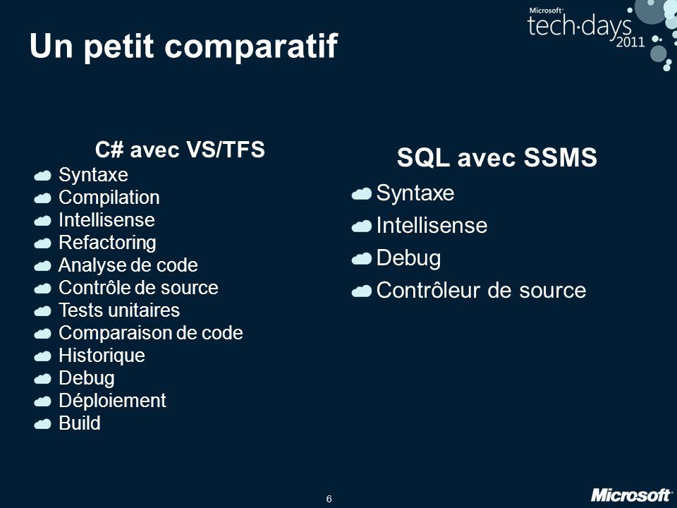 6 Un petit comparatif C# avec VS/TFS Syntaxe Compilation Intellisense Refactoring Analyse de code Contrôle de source Tests unitaires Comparaison de code Historique Debug Déploiement Build SQL avec SSMS Syntaxe Intellisense Debug Contrôleur de source