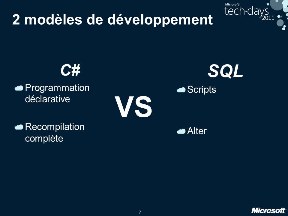 7 2 modèles de développement C# Programmation déclarative Recompilation complète SQL Scripts Alter VS