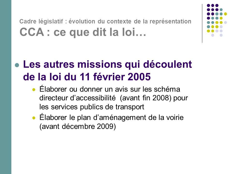 Cadre législatif : évolution du contexte de la représentation CCA : ce que dit la loi…  Les autres missions qui découlent de la loi du 11 février 200