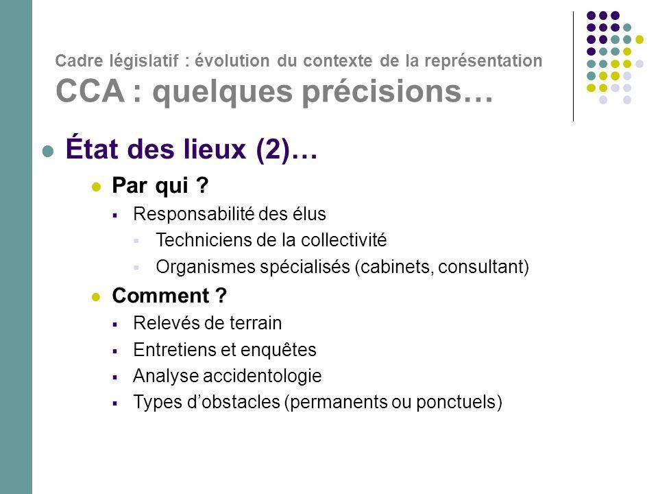 Cadre législatif : évolution du contexte de la représentation CCA : quelques précisions…  État des lieux (2)…  Par qui ?  Responsabilité des élus 