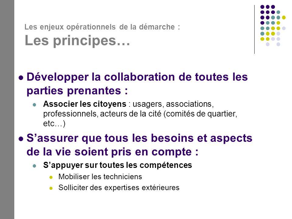 Les enjeux opérationnels de la démarche : Les principes…  Développer la collaboration de toutes les parties prenantes :  Associer les citoyens : usa