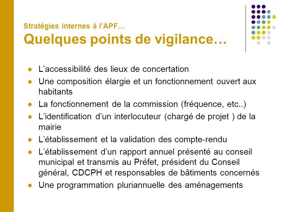 Stratégies internes à l'APF… Quelques points de vigilance…  L'accessibilité des lieux de concertation  Une composition élargie et un fonctionnement