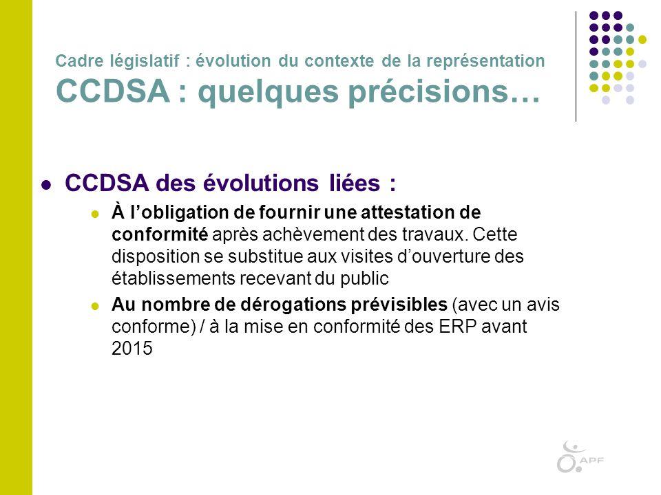  CCDSA des évolutions liées :  À l'obligation de fournir une attestation de conformité après achèvement des travaux. Cette disposition se substitue