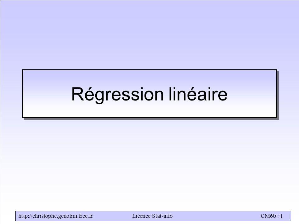 http://christophe.genolini.free.frLicence Stat-infoCM6b : 1 Régression linéaire