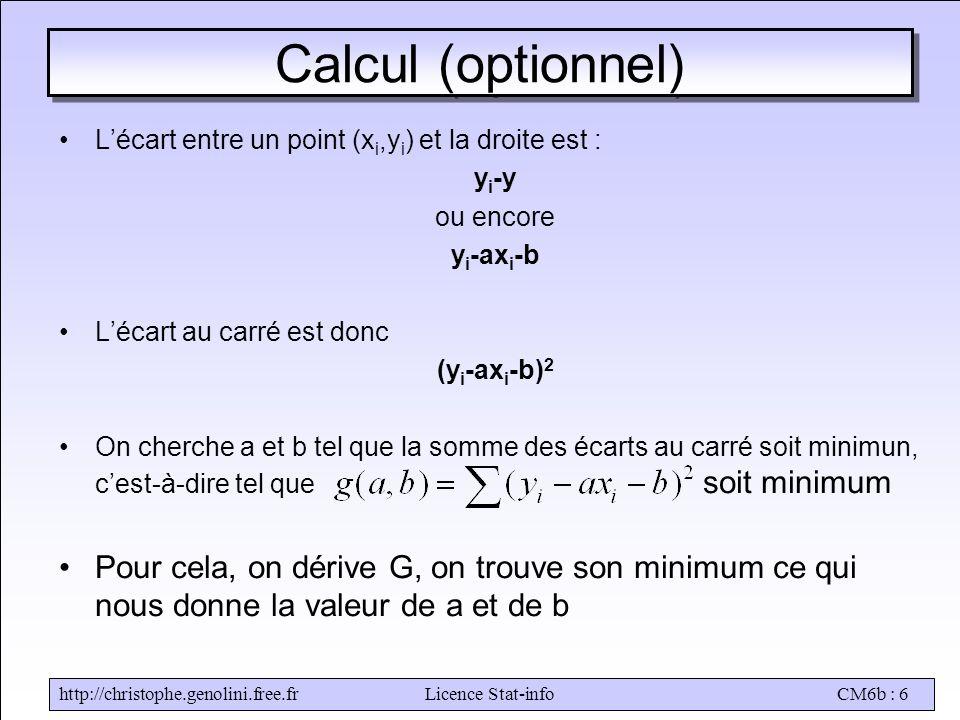 http://christophe.genolini.free.frLicence Stat-infoCM6b : 6 Calcul (optionnel) •L'écart entre un point (x i,y i ) et la droite est : y i -y ou encore