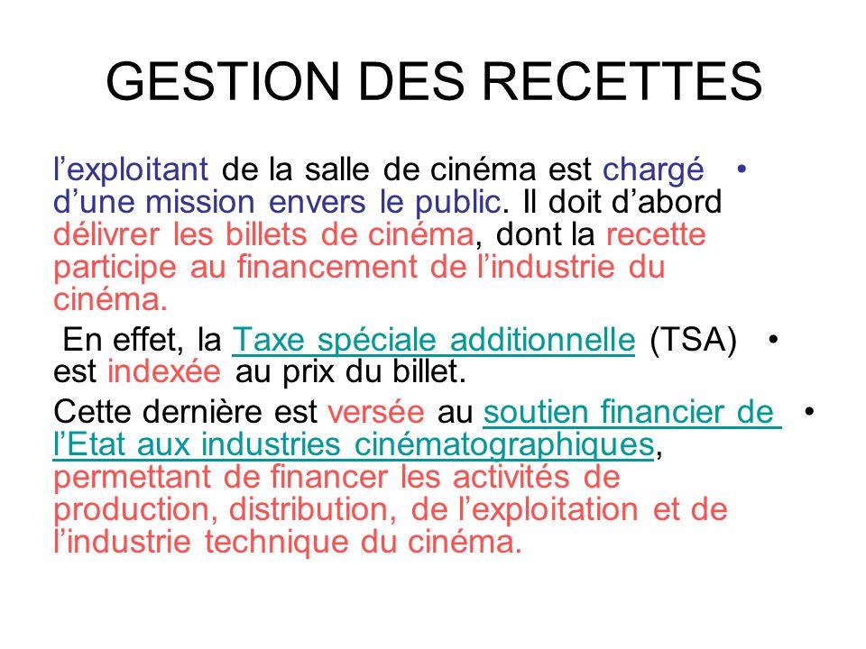 GESTION DES RECETTES •l'exploitant de la salle de cinéma est chargé d'une mission envers le public. Il doit d'abord délivrer les billets de cinéma, do