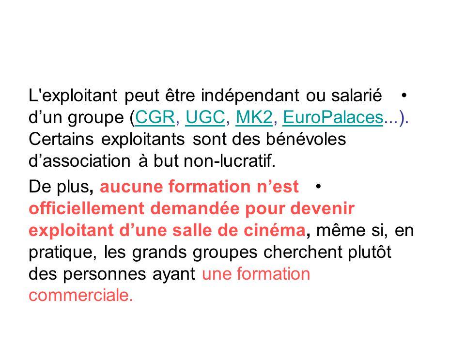 •L'exploitant peut être indépendant ou salarié d'un groupe (CGR, UGC, MK2, EuroPalaces...). Certains exploitants sont des bénévoles d'association à bu