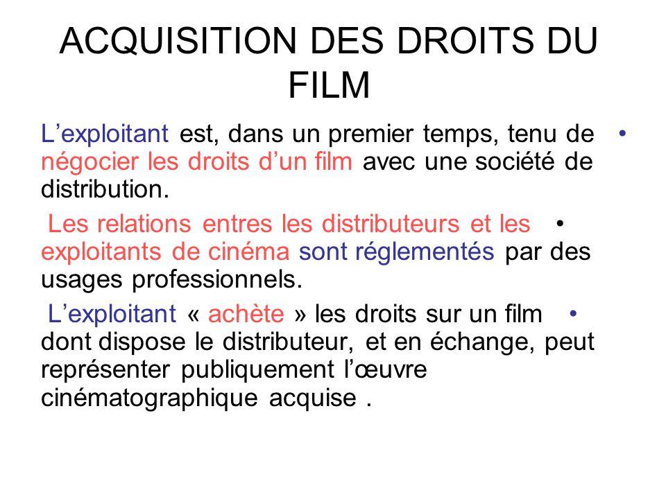 ACQUISITION DES DROITS DU FILM •L'exploitant est, dans un premier temps, tenu de négocier les droits d'un film avec une société de distribution. • Les