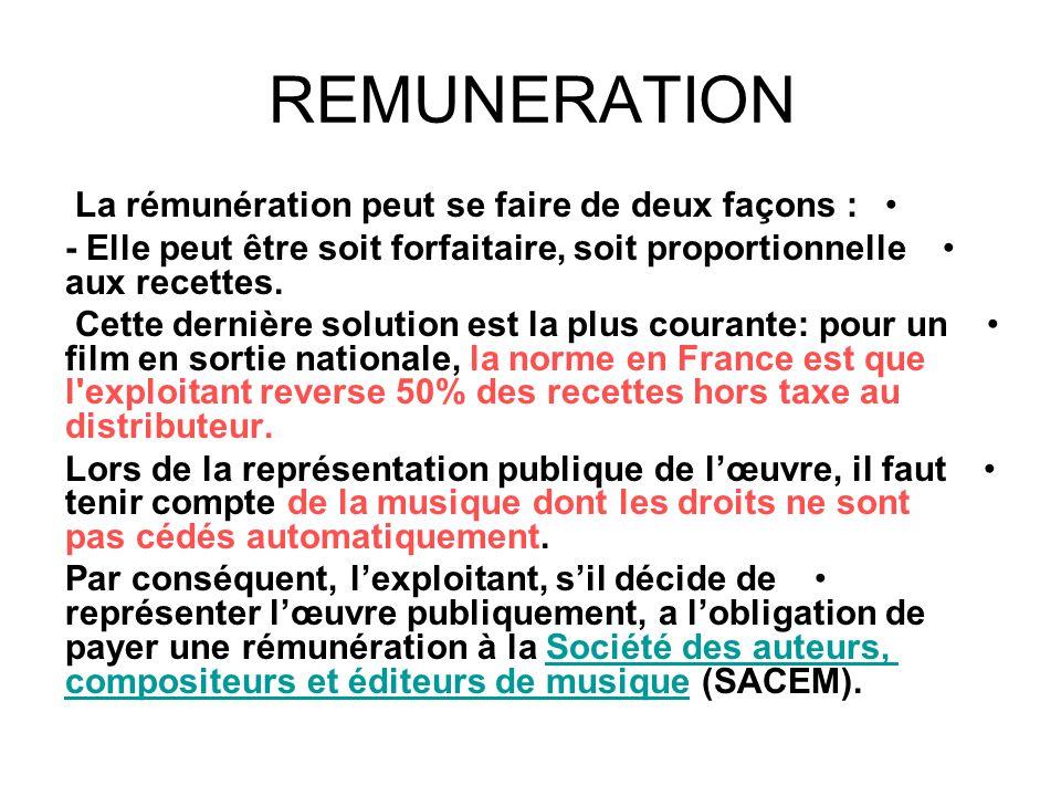 REMUNERATION • La rémunération peut se faire de deux façons : •- Elle peut être soit forfaitaire, soit proportionnelle aux recettes. • Cette dernière