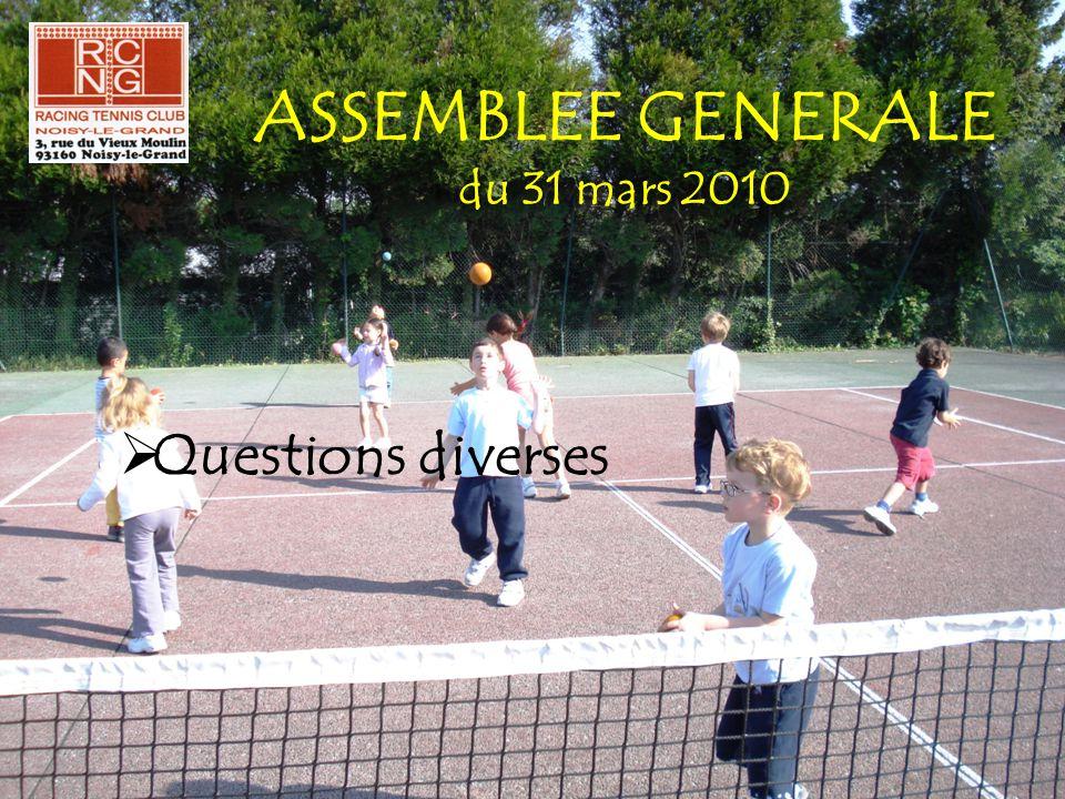 ASSEMBLEE GENERALE du 31 mars 2010  Questions diverses