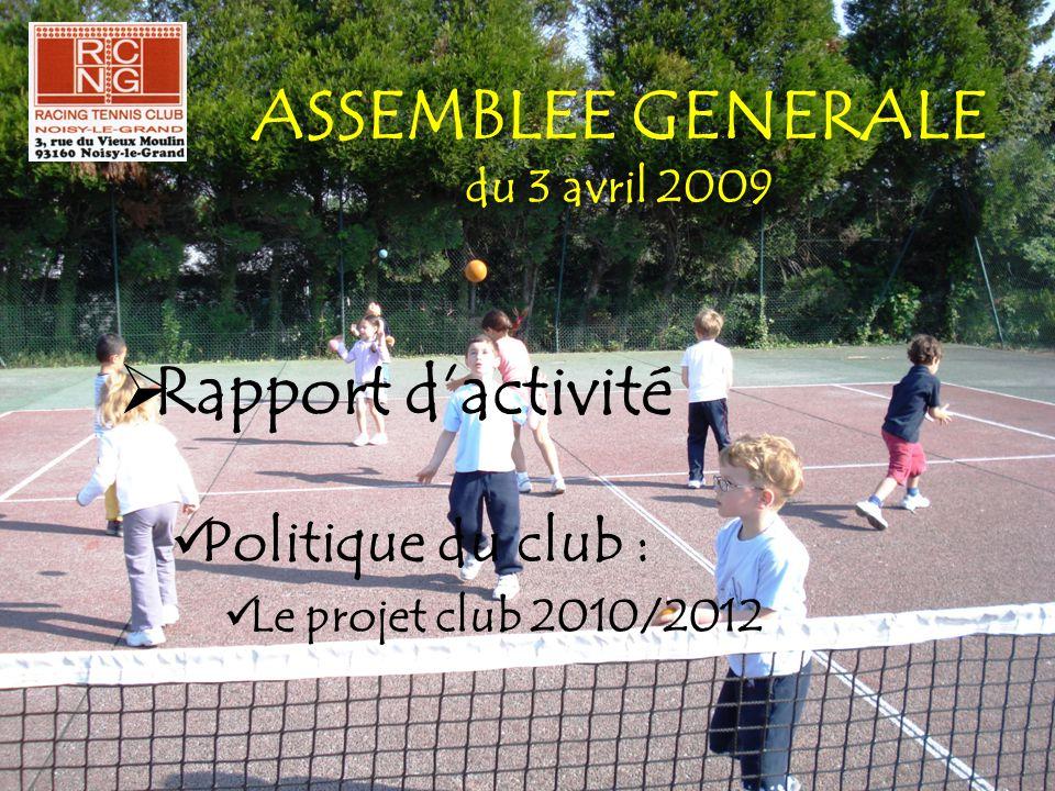 ASSEMBLEE GENERALE du 3 avril 2009  Rapport d'activité  Politique du club :  Le projet club 2010/2012