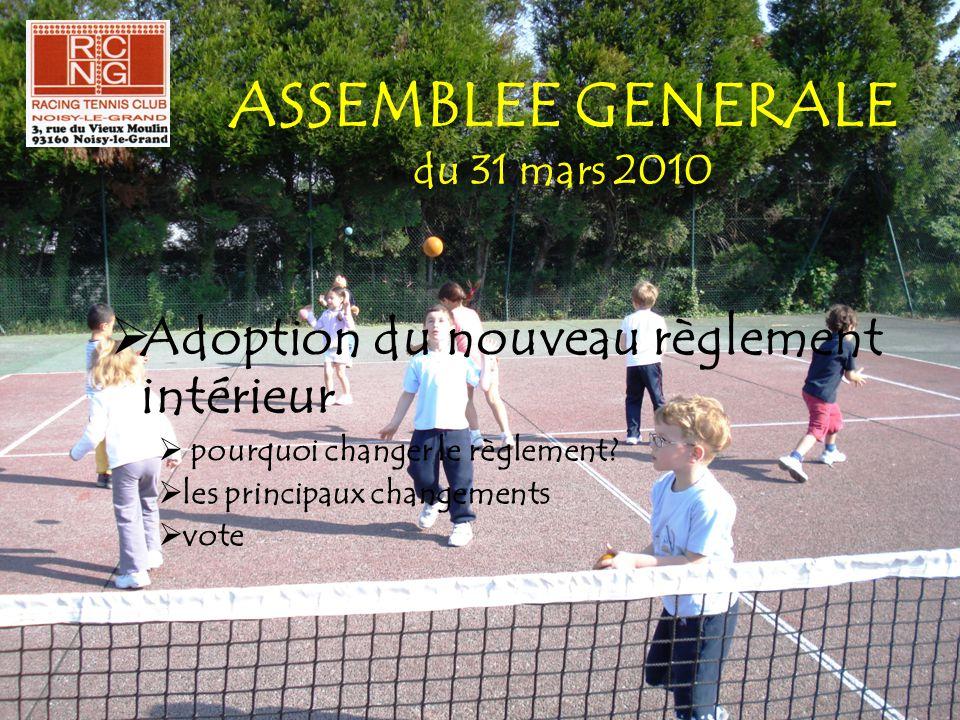 ASSEMBLEE GENERALE du 31 mars 2010  Adoption du nouveau règlement intérieur  pourquoi changer le règlement?  les principaux changements  vote