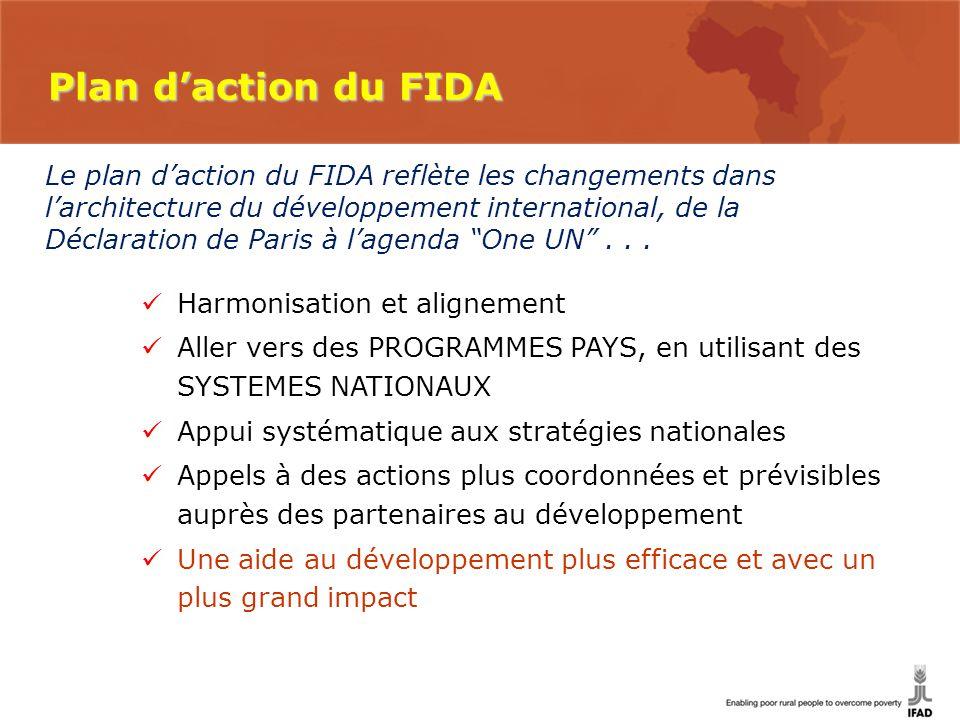 Le plan d'action du FIDA reflète les changements dans l'architecture du développement international, de la Déclaration de Paris à l'agenda One UN ...