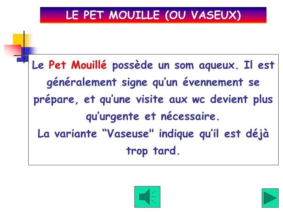 Le Pet Toussé arrive quand le pétomane (le praticant du pet) essaye de le dissimuler avec de la toux. Un de mês amis lachait fréquement ces pets lorsq