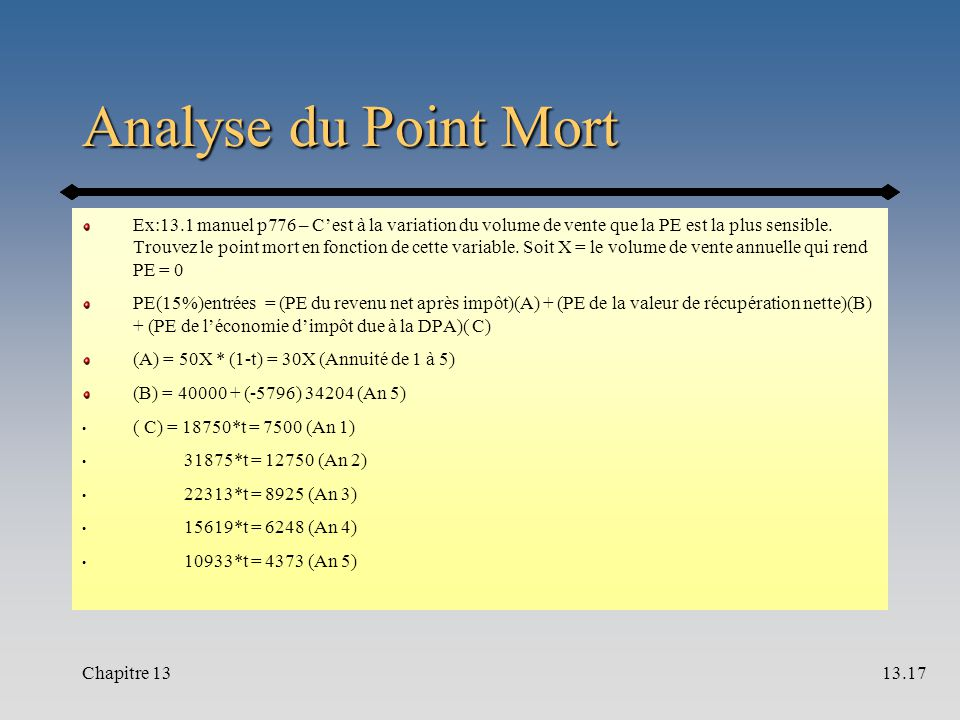 Analyse du Point Mort Ex:13.1 manuel p776 – C'est à la variation du volume de vente que la PE est la plus sensible.
