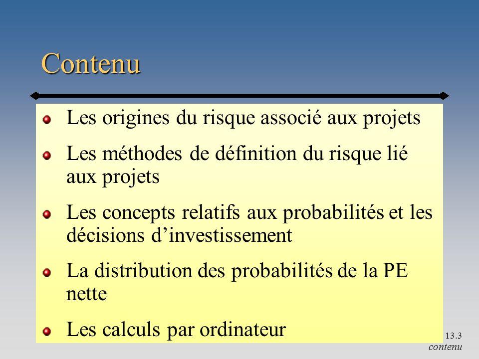 Chapitre 1313.3 Contenu Les origines du risque associé aux projets Les méthodes de définition du risque lié aux projets Les concepts relatifs aux prob