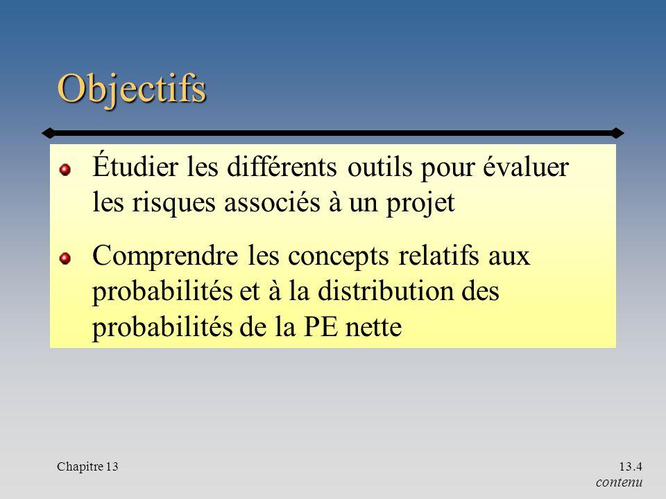 Chapitre 1313.4 Objectifs Étudier les différents outils pour évaluer les risques associés à un projet Comprendre les concepts relatifs aux probabilités et à la distribution des probabilités de la PE nette contenu