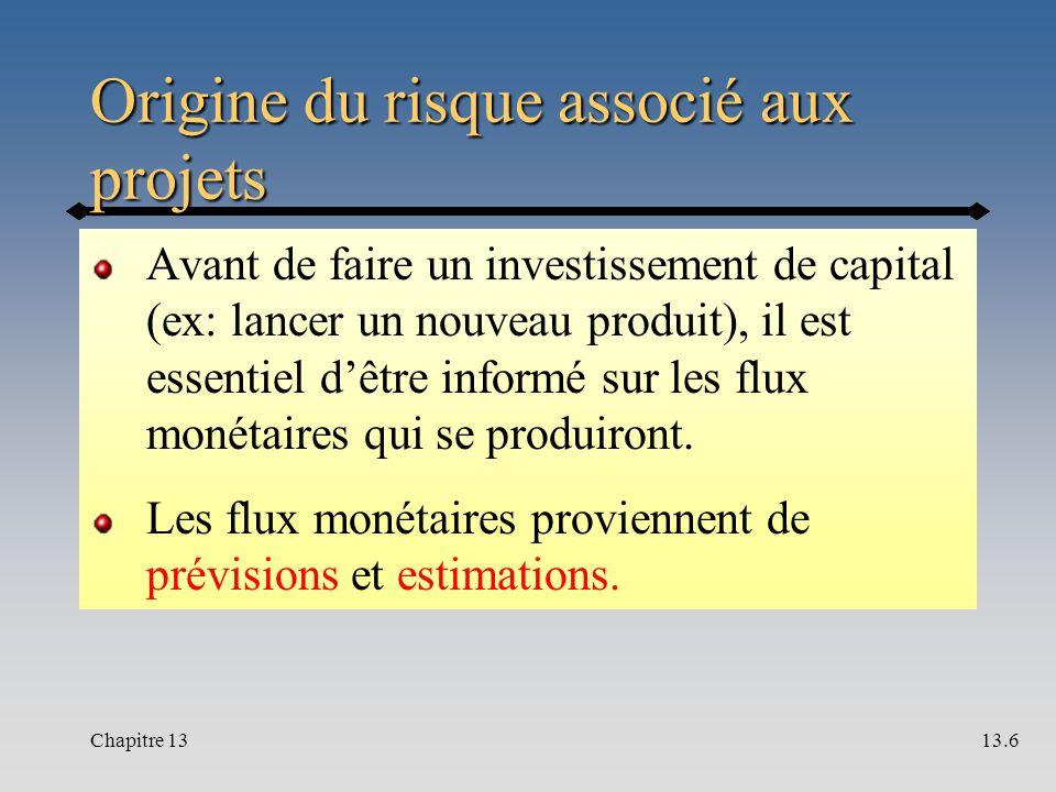Origine du risque associé aux projets Avant de faire un investissement de capital (ex: lancer un nouveau produit), il est essentiel d'être informé sur les flux monétaires qui se produiront.